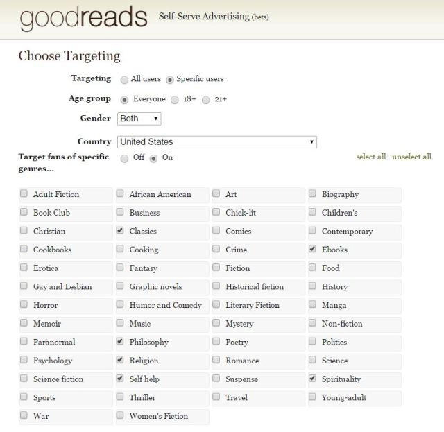 Goodreads Targets